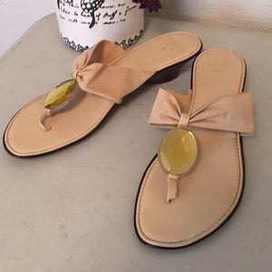 Italian shoemakers tan jeweled Sandal size 9.5
